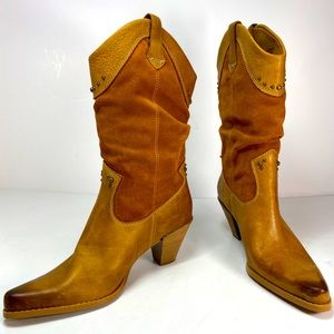 Bass Caspian Leather Western Cowgirl Boots